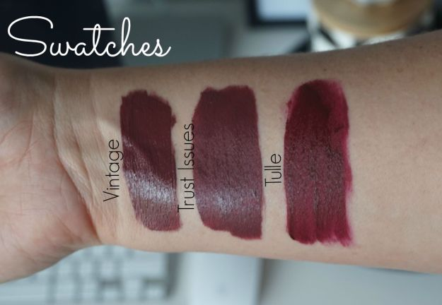Swatches Nyx liquid suede cream lipstick Vintage vs Anastasia Beverly hill Trust issues vs Colourpop colour pop tulle