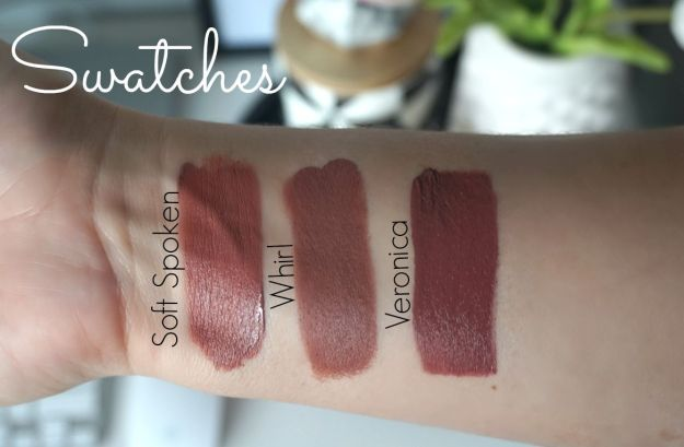 swatches dupes new nyx matte liquid suede cream lipsticks soft spoken vs mac whirl vs anastasia beverly hills veronica