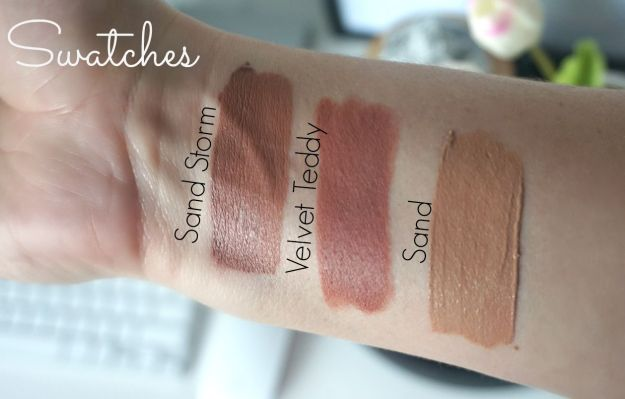 swatches new nyx liquid suede cream lipsticks dupes compare vs mac velvet teddy dose of colors sand